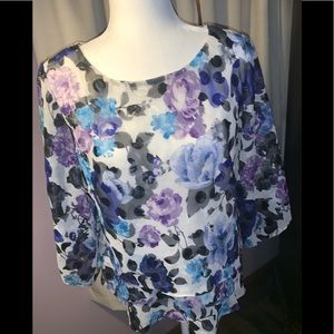 Alex Evenings Large Floral Triple Tiered Blouse